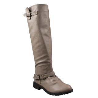Refresh by Beston Womens Reba Taupe Riding Boots