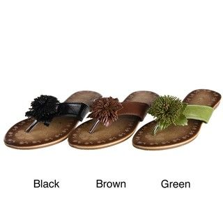 Lasonia Womens Green Floral Applique Detail Thong Sandals FINAL SALE