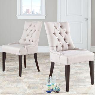 Marseille Beige Linen Nailhead Dining Chairs (Set of 2)