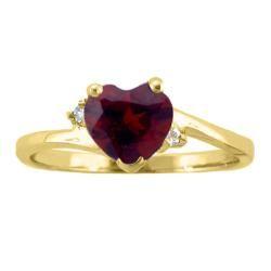 10k Gold January Birthstone Garnet and Diamond Heart Ring
