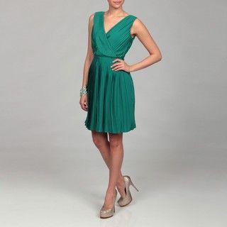 Miss Sixty Womens Emerald Pleated V neck Dress