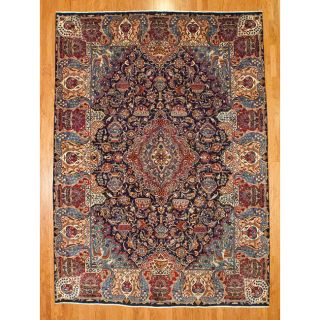 Persian Hand knotted Navy/ Red Kashmar Wool Rug (8 x 135