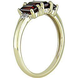 Miadora 10k Yellow Gold Garnet and Diamond 3 stone Ring
