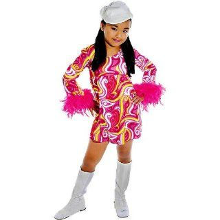 Kids Girls Costume 60s 70s Disco Go Girl Dress Outfit L