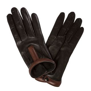 Prada Womens Black/ Brown Pintucked Leather Driving Gloves