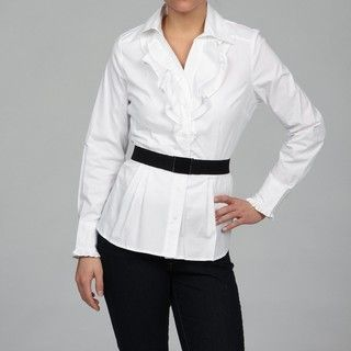 Katherine New York Womens White Ruffle Blouse