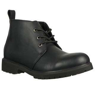 Lugz Mens Chukka Black Leather Lace up Ankle Boots