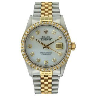 Pre owned Rolex Mens Datejust Two tone Diamond Dial Watch