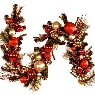 foot Red Silver Ornaments Holiday Garland