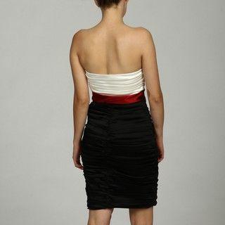Jax Womens Black/ Red Draped Bust Ruched Dress