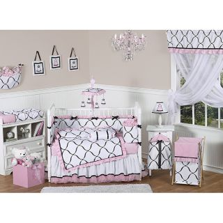 Sweet Jojo Designs Pink, Black and White Princess 9 piece Crib Bedding