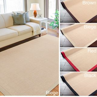 Woven Town Chocolate Sisal with Cotton Border Rug (6x9)