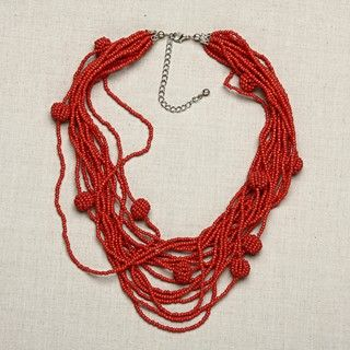 Glass Red Balls of Fire Multi strand Beaded Necklace (India