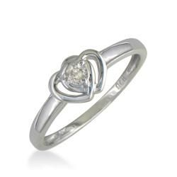 Sterling Silver Double Heart Diamond Solitaire Promise Ring (J/K I2 I3