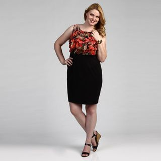Connected Apparel Womens Black/ Coral Plus Dress FINAL SALE
