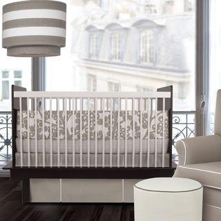Oilo Modern Berries Taupe 3 piece Crib Bedding Set