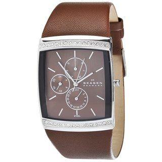 Skagen Womens Square Glitz Brown Leather Watch