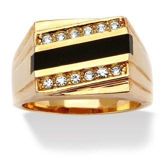 Neno Buscotti Gold Overlay Mens Onyx and Crystal Accent Ring