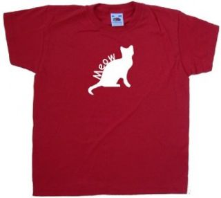 Meow Cat Red Kids T Shirt Clothing