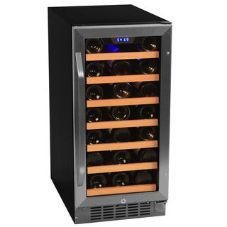 EdgeStar 30 Bottle Built In Wine Cooler   Stainless Steel/Black