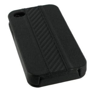 Apple iPhone 4 Vertical Black Leather Flip Case