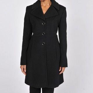 Via Spiga Womens Black Wool and Cashmere Walking Coat