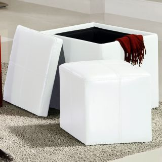 ETHAN HOME Swayne White Storage Ottoman with Mini Foot Stool Compare