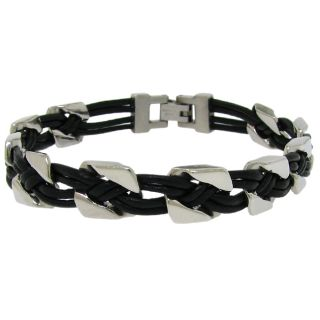 Stainless Steel Mens Black Leather Link Bracelet