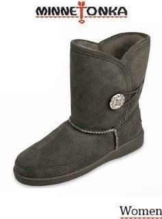 Moccasin Side Button Classic Pug 3541T Sheepskin Boots Grey Shoes