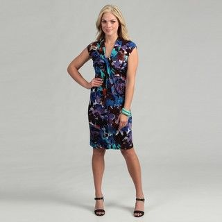 London Times Womens Floral Jersey Dress