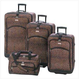 4Pc Matching Leopard Print Travel Luggage Bag Ensemble