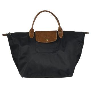 Longchamp Medium Le Pliage Black Nylon Brown Leather Handle Tote Bag
