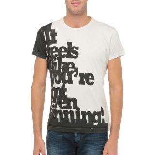 DIESEL T Shirt Slogan Homme Beige   Achat / Vente T SHIRT DIESEL T
