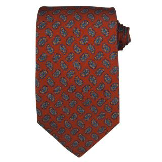 Etro Milano Mens Silk Burnt Orange, Blue and Green Paisley Tie