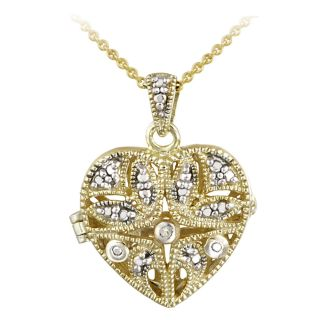 DB Designs 18k Gold Over Silver Diamond Accent Heart Locket Necklace