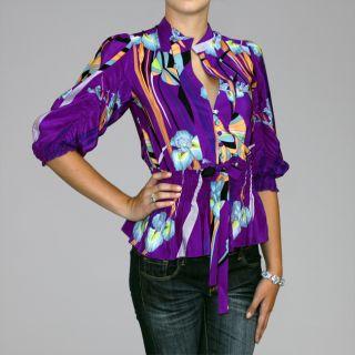 Bilingual Clothing Womens Purple Silk Mosaic Ruched 3/4 sleeve Blouse