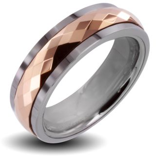 Mens Tungsten Carbide Rose Gold Multi faceted Prism Spinner Ring (6