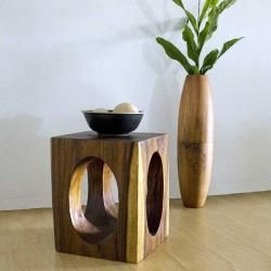 Monkey Pod Wood 20 inch Window End Table (Thailand)