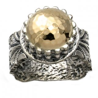 Beverly Hills Charm Silver and 14k Yellow Gold Hammered Dome Ring