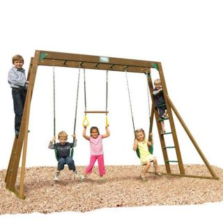 Play Time Classic Series Swing Set Top Ladder with Rope Accessories