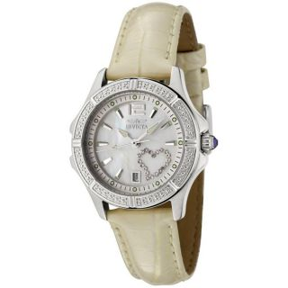 Invicta Womens Wildflower Shiny Beige Leather White Crystal Watch