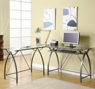 Metal L Shaped Glass Top Computer Desk