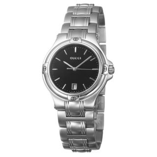 Gucci Mens Stainless Steel Black Dial Watch