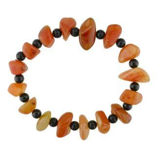 Carnelian Gemstone and Round Onyx Bead Stretch Bracelet