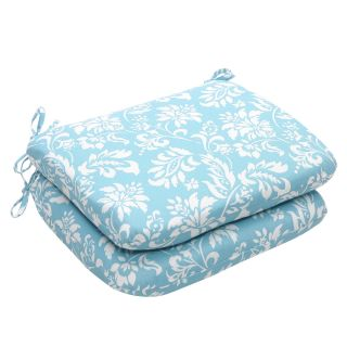 Outdoor Blue and White Floral Rounded Seat Cushions (Set of 2
