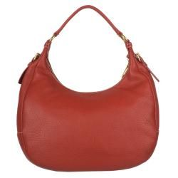 Prada Vitello Daino Red Leather Hobo Bag