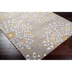 Hand tufted Contemporary Gray Zandoline New Zealand Wool Abstract Rug