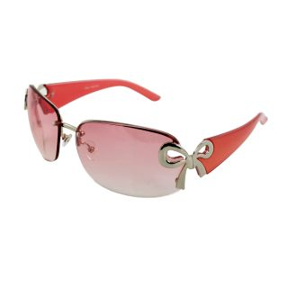 Womens Rimless Pink Frame Gradient Lens Butterfly Sunglasses