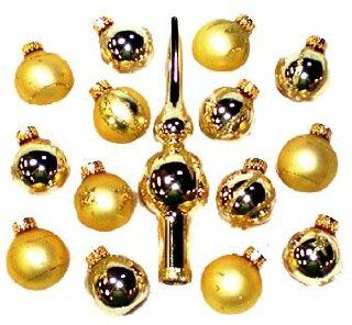 Set of 15 Gold Mini Glass Ball Christmas Ornaments and