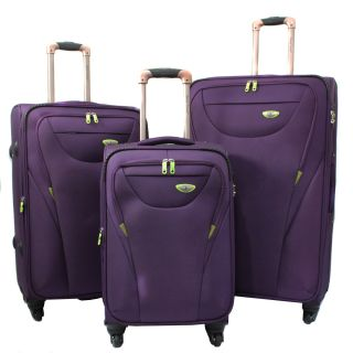 American Green Travel Purple 3 piece Expandable Spinner Luggage Set